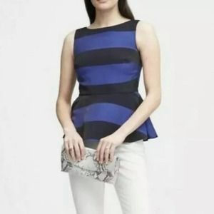 Banana Republic Fitted Striped Peplum Top